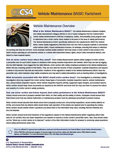 Vehicle Maintenance BASIC Factsheet