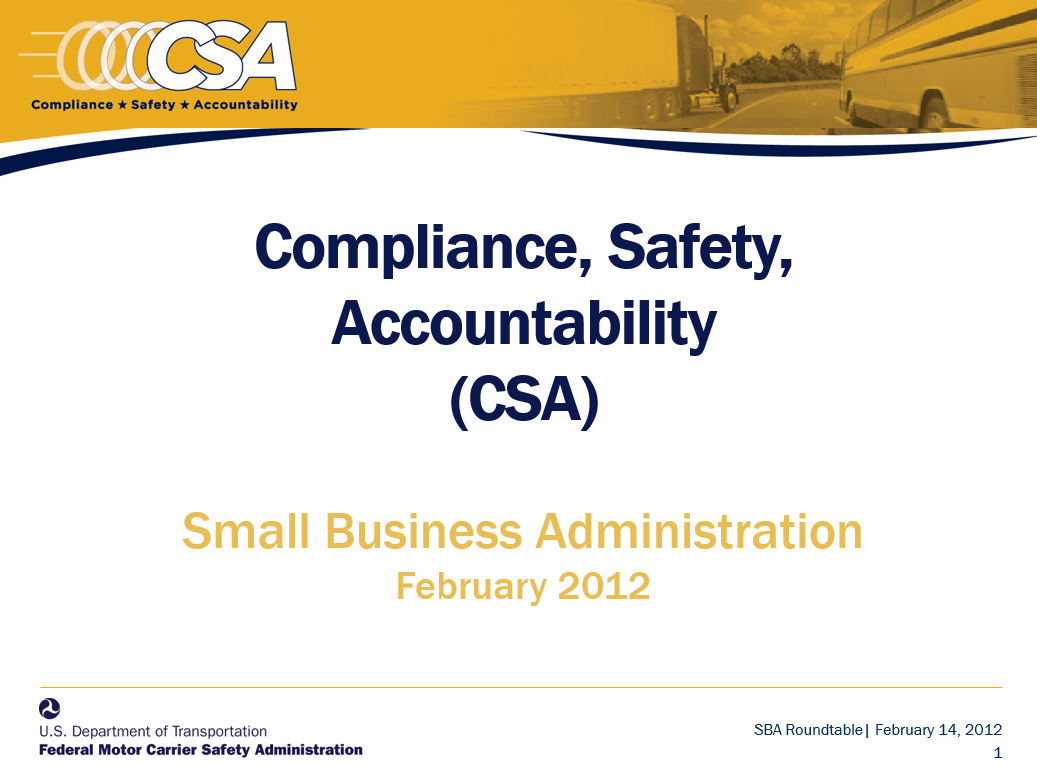 CSA Presentation to Small Business Administration, February 2012