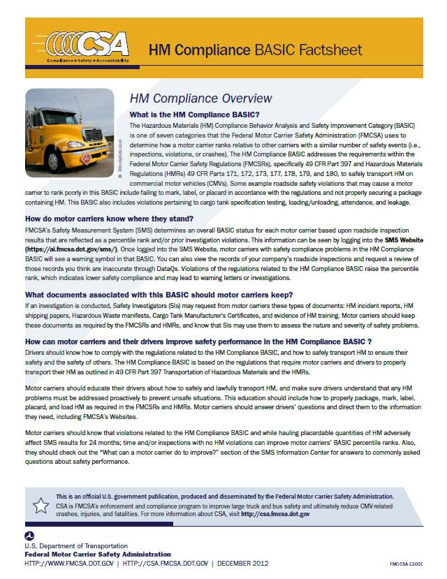 Hazardous Materials (HM) Compliance BASIC Factsheet