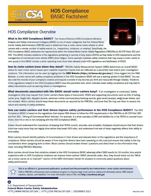 Hours-of-Service (HOS) Compliance BASIC Factsheet