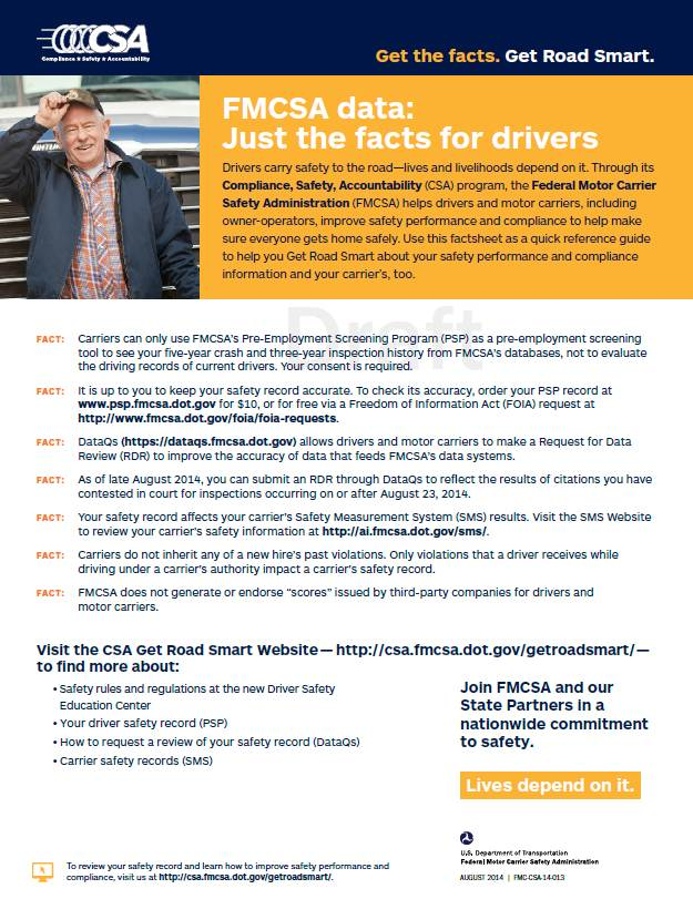 Just The Facts for Drivers Factsheet