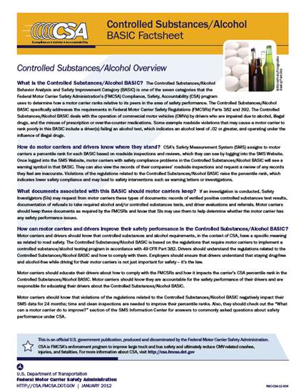 Controlled Substances/Alcohol BASIC Factsheet