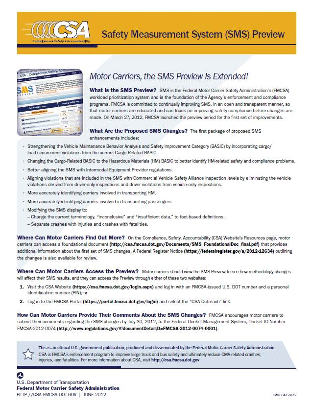 Safety Measurement System (SMS) Preview Handout for Motor Carriers