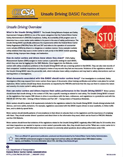 Unsafe Driving BASIC Factsheet