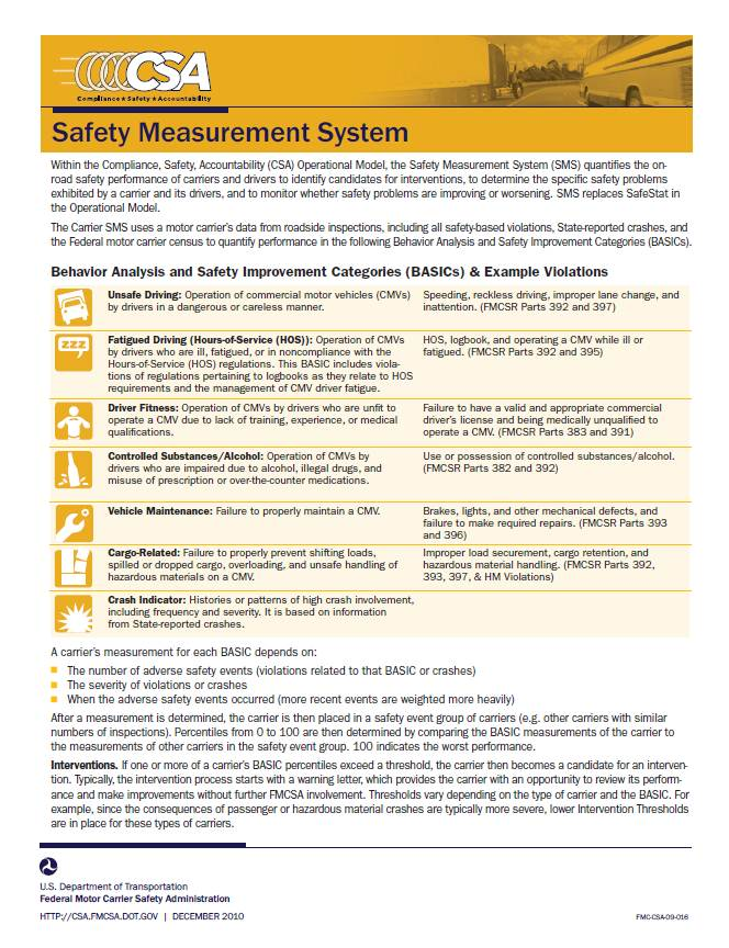 Safety Measurement System Factsheet